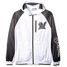 MLB Milwaukee Brewers Men's Full Zip Tricot Logo Sleeve Track Jacket with Wordmark, 3X, White/Charcoal