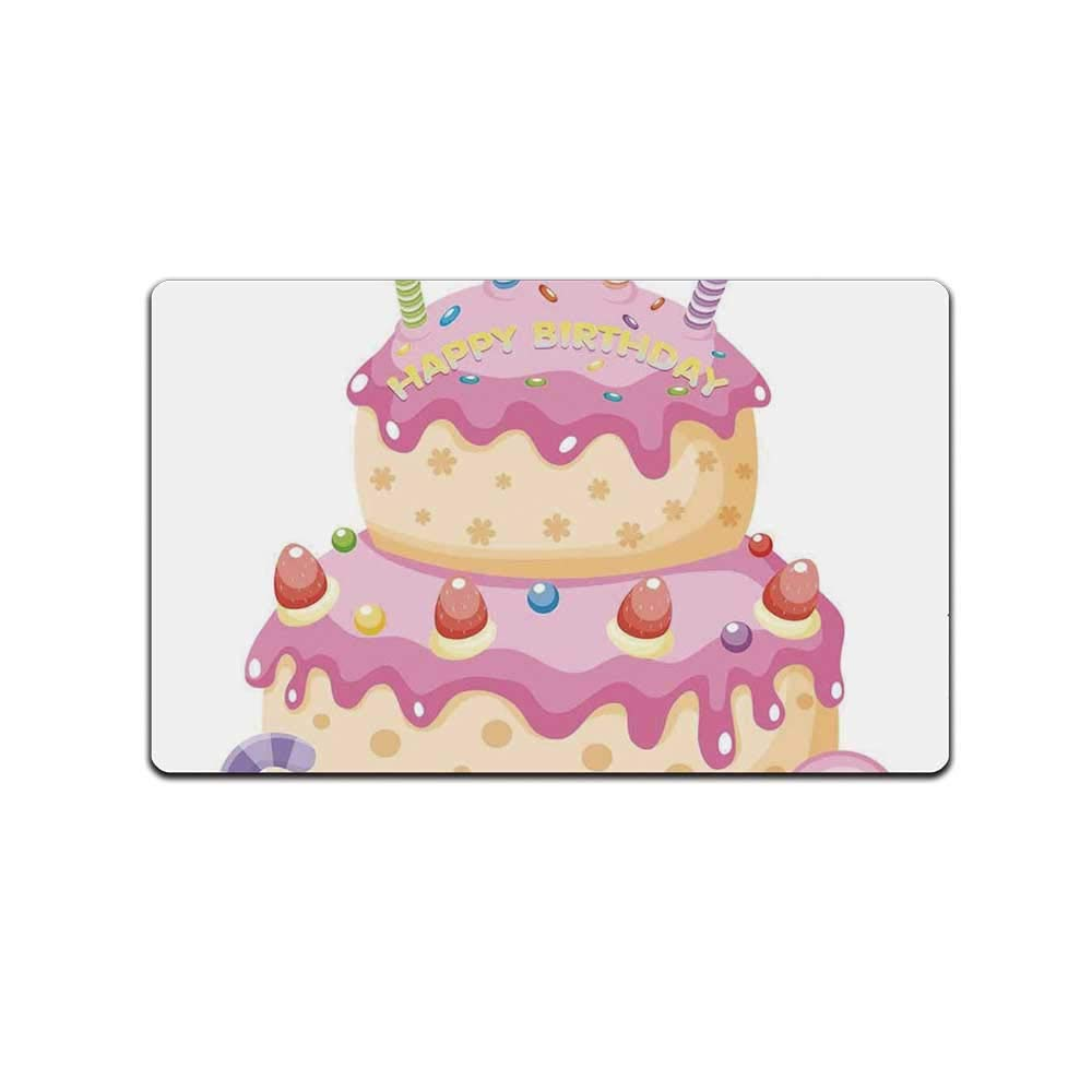 YOLIYANA Birthday Decorations for Kids Decorative Doormat,Pastel Colored Birthday Party Cake with Candles and Candies for Bathroom,31'' Lx19 W