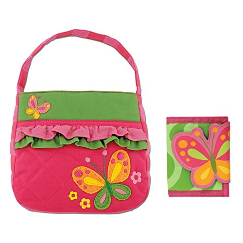 Stephen Joseph Quilted Butterfly Purse with Butterfly Wallet for Girls