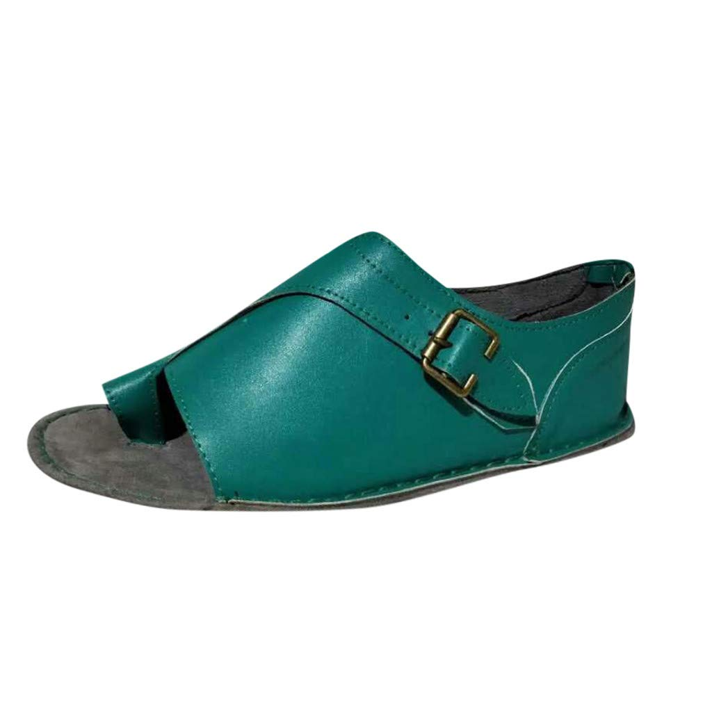 LAIHUI 2019 Woman Sandal Shoes Ankle Strap Flat Heel Sandal Summer Beach Shoes Woman Shoes Summer Beach Ankle Strap Flat Heel Sandal Shoes Suede Leather and Cork Footbed Sandals 8, Blue