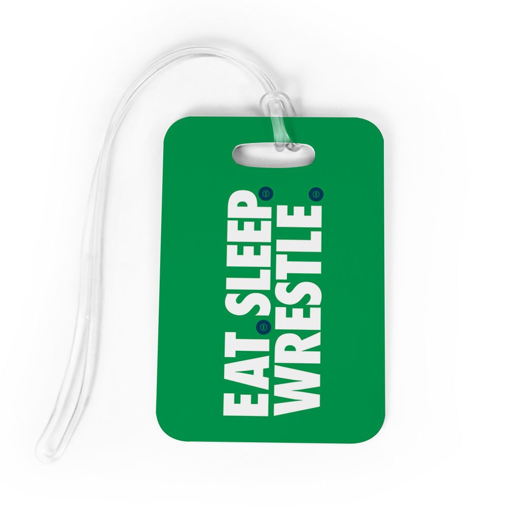 Wrestling Luggage & Bag Tag | Eat Sleep Wrestle | Custom Info on Back | MEDIUM | GREEN