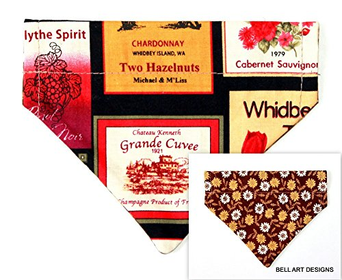 Bell Art Designs DOG BANDANA, Over the Collar, Reversible, Wine Labels, EXTRA SMALL, DCXS0404
