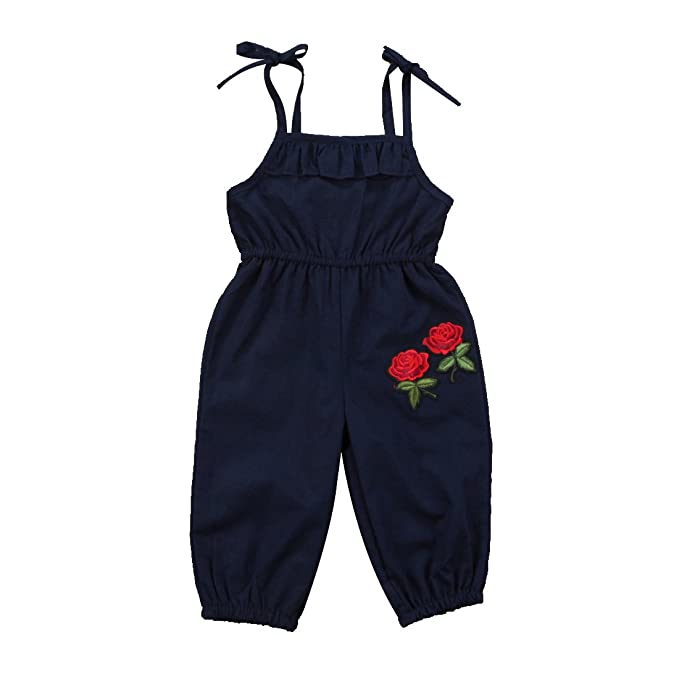 Urkuteba 3D Rose Embroidery Infant Baby Girl Sleeveless Halter Strappy Jumpsuit Sunsuit Ruffle Romper Summer Outfit