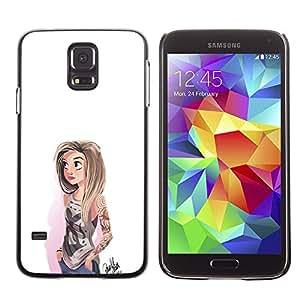 KLONGSHOP // Cubierta de piel con cierre a presión Shell trasero duro de goma Protección Caso - Chica emo - Samsung Galaxy S5 //