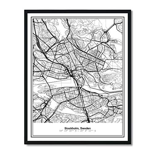 Susie Arts 11X14 Unframed Stockholm Sweden Metropolitan City View Abstract Street Map Art Print Poster Wall Decor - Poster Art Map Print