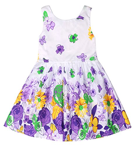 Sugar Pocket Girl's Dress Butterfly Printed Summer Sundress Purple Rose (Size 8 Dress Weight)