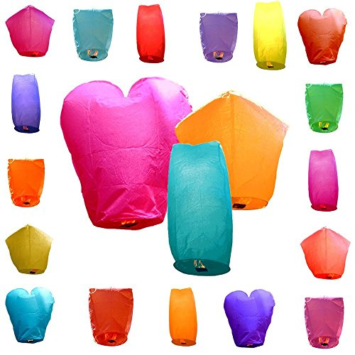 Topallnice Sky Lanterns, 20 Eco Wire-Free Assorted Chinese Flying Sky Lanterns Alternate Name Wishing Lamp (20-Pack, Assorted Shapes & Colors) - 100% Biodegradable, Environmentally Friendly!