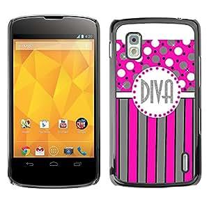 For LG Google NEXUS 4 / Mako / E960 Case , Polka Dot Pink Grey Stripes Lines - Diseño Patrón Teléfono Caso Cubierta Case Bumper Duro Protección Case Cover Funda