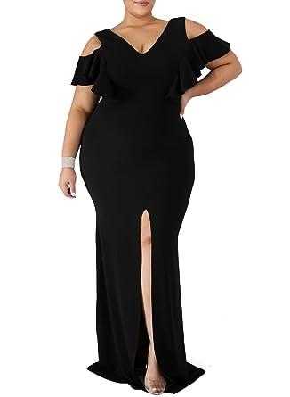 829273b7140e Itsmode Women's Sexy Plus Size V Neck Cold Shoulder Slit Long Mermaid Maxi  Dress Club Evening