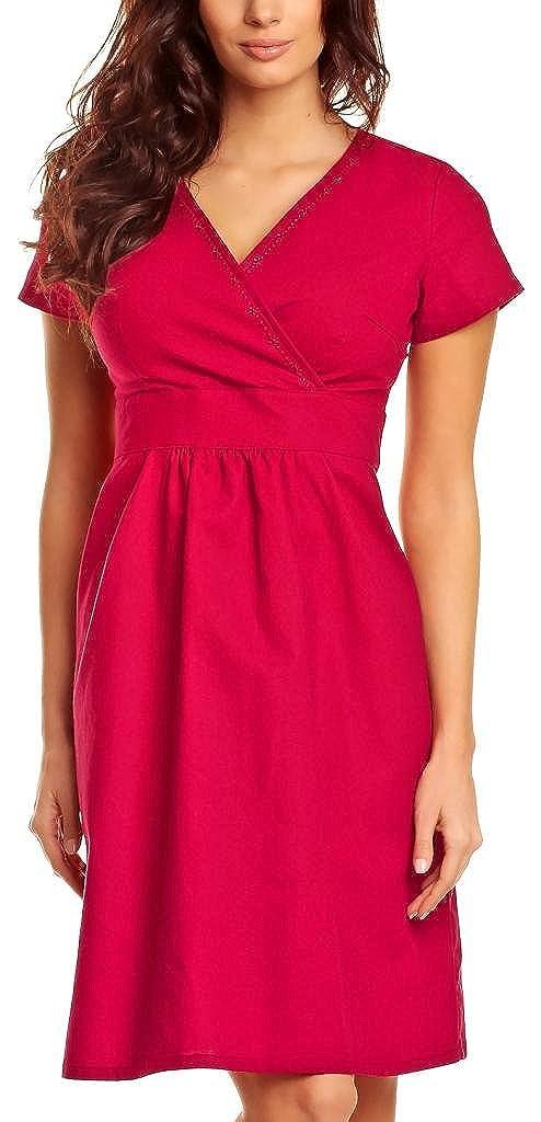 Modehaus Casual Dress Damen Short Baumwolle/Leinen Tunika mit V-Ausschnitt