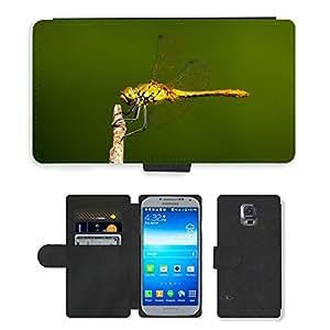 CARD POCKET BOOK CASE PU LEATHER CASE // M00146611 Bug Insecto Libélula ala Vida Silvestre // Samsung Galaxy S5 S V SV i9600 (Not Fits S5 ACTIVE)