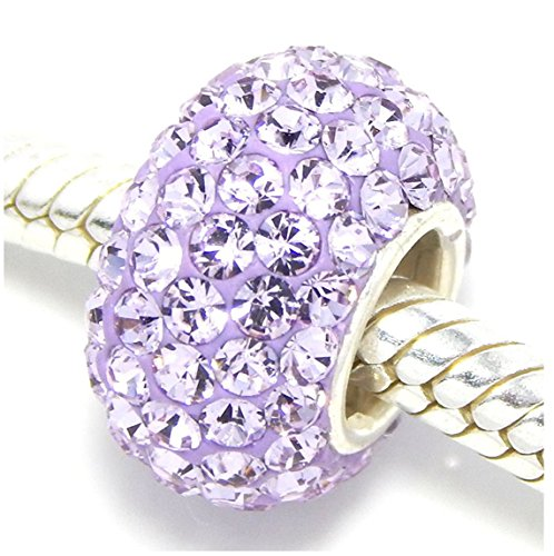 - 925 Solid Sterling Silver June Birthstone Charm Swarovski Crystal Elements fit All Charm Bracelets Gift Bag EC684-6