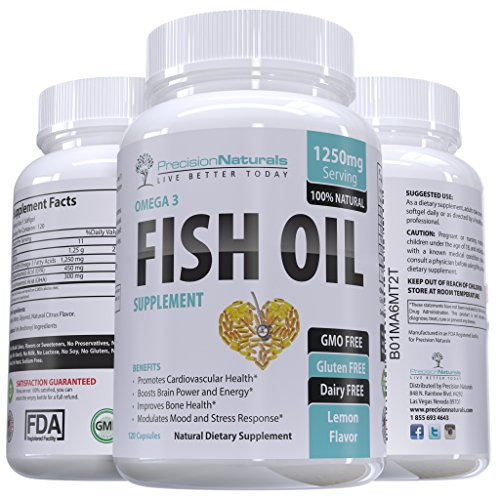 Fish Oil Omega 3 Vitamin/EPA and DHA Supplement 120 Count Capsules/Softgels 1250mg Pharmaceutical Grade Simply the Best Triple Strength Fish Oil With Natural Lemon Flavor - Muscle Farm Fish Oil