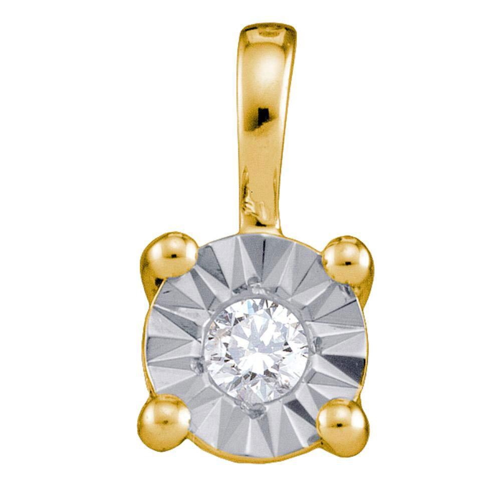 10k Yellow Gold Diamond Illusion-set Solitaire Pendant 1//10 ct