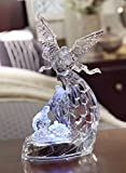 CC Christmas Decor Set of 2 Clear Angel with Holy Family LED Tabletop Decors 12''