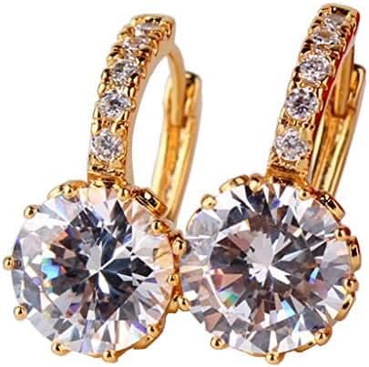 GUICX Gold Tone rhinestone Round Clear CZ Zircon alluring luxury woman Earrings Hoop