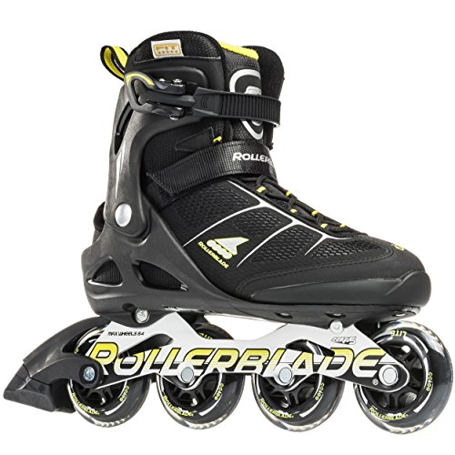 Rollerblade Macroblade 80 Alu 16 All Around Skate, Black/Yellow, US Size - Fusion Mens Rollerblade
