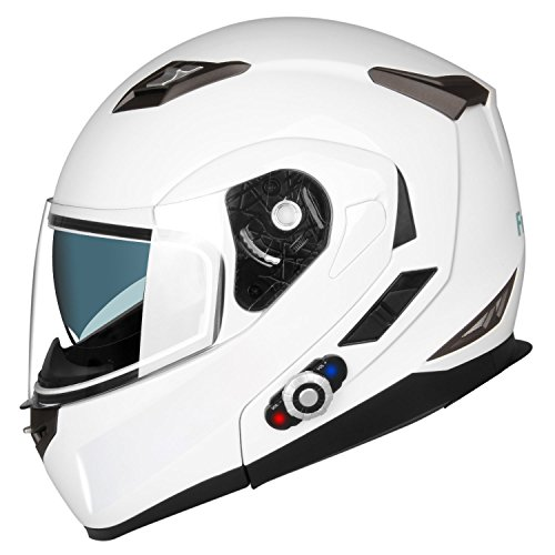 FreedConn Full Face Motorcycle Helmet Intergrated Modular Flip up Dual Visors Bluetooth Helmets With 500M FM Radio Headset Intercom Communication DOT (GPS,White,Large) -