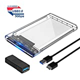 #7: ELUTENG SSD Hard Case for 2.5 inch HDD Portable SSD Adapter 5Gbps USB3 SSD Case with 2 Pack 3.0 USB Female Coupler Support 7MM 9.5MM SSD HDD Portable External Hard Drive Enclosure
