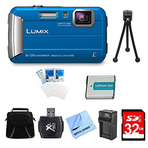 Panasonic LUMIX DMC-TS30 Active Tough Blue Digital Camera 32GB Bundle w/Camera, 32GB Card, Compact Bag, Battery, Card Reader, Battery Charger, Mini Tripod, Screen Protectors, and Micro Fiber Cloth