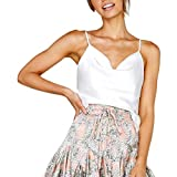 iSkylie Women's Boho Camisole Sexy V-Neck Blouse Solid Color Adjustable Cross Vest Spaghetti Strap T-Shirt Summer Sleeveless Casual Tanks Tops