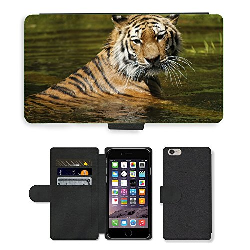 Just Phone Cases PU Leather Flip Custodia Protettiva Case Cover per // M00127262 Tigre de Sibérie eau Swim Cat Tiger // Apple iPhone 6 4.7""