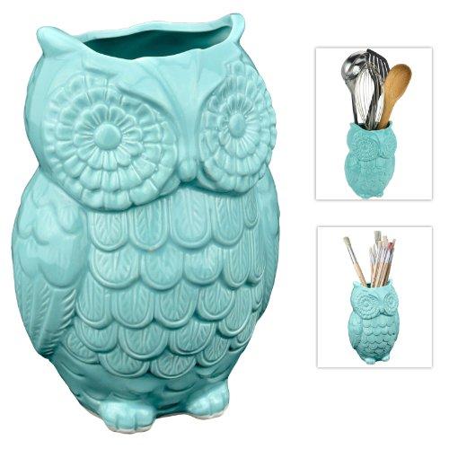Mygift Aqua Blue Owl Design Ceramic Cooking Utensil Holder Multipurpose Kitchen Storage Crock