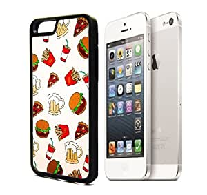 Apple iPhone 6 Black Plastic Hard Case Design Hipster Teen Food Lover Hamburger Pizza Beer Soda Pattern For iPhone 6