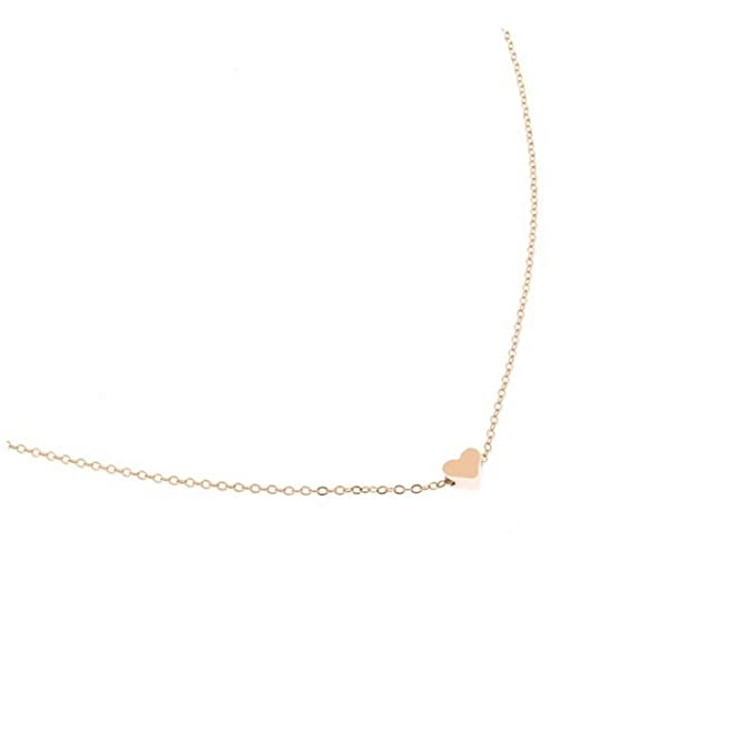 ff51ff40ed91 Amazon.com  Tiny Heart Choker Necklace for Women Gold Silver Chain Smalll  Love Necklace Pendant on Neck BOH  Clothing