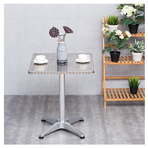 MD Group Table Cafe Bistro Square Stainless Steel Aluminium 23 1/2'' Light-weight Waterproof by MD Group