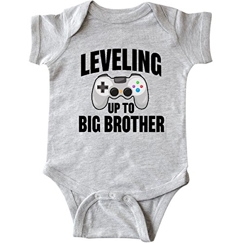 inktastic Leveling Up to Big Brother Infant Creeper 12 Months Heather Grey