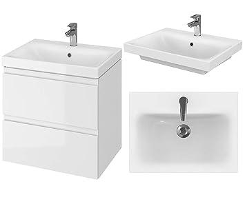 Vbchome Badmöbel 60 Cm Weiß Waschbecken Mit Unterschrank Waschtisch