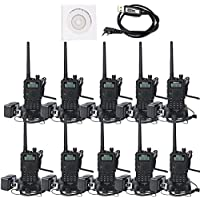 Retevis RT5 (Second Generation) Two-Way Radio Transceiver Dual Band 136-174/400-520MHz 128 CH VOX DTMF FM Radio 1750Hz Walkie Talkies (10 Pack,Black)