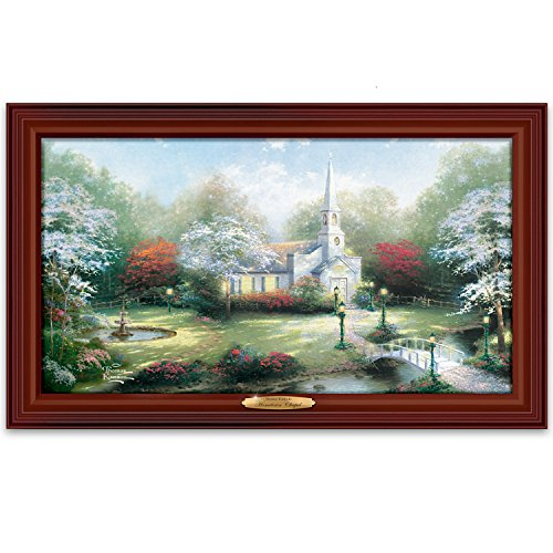 Thomas Kinkade Illuminated Framed Canvas Print Wall Decor: Hometown Chapel by The Bradford - Kinkade Tree Illuminated Thomas