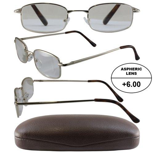 3e933de43add Men s High-Powered Reading Glasses  Gold Frame and Brown Case +6.00  Magnification Aspheric Lenses