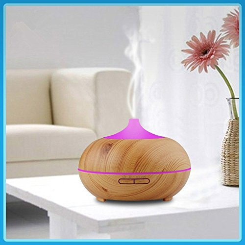 VicTsing 2nd Version Essential Oil Diffuser 300ml Aroma Wood Grain Ultrasonic Cool Mist Humidifier with Adjustable Mist for Office Home Room StudyDeep Brown