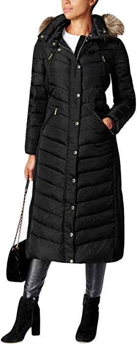 47c770e7b Amazon.com: MICHAEL Michael Kors Faux-Fur-Trim Hooded Maxi Coat XS ...