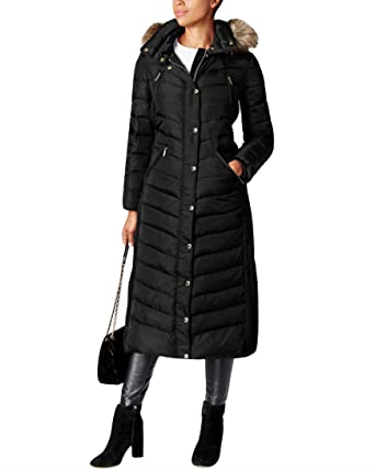 ce83ea0595ae69 Image Unavailable. Image not available for. Color: Michael Michael Kors Faux -Fur-Trim Hooded Maxi Coat XS Black