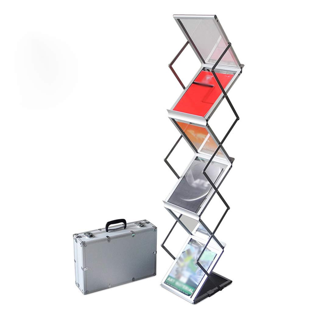 b221358980bf Folding Display Stand Magazine Rack Aluminum Alloy Information Frame Bank  Propaganda Single Frame Transparent Acrylic Partition Silver A4 Aluminum  Data ...