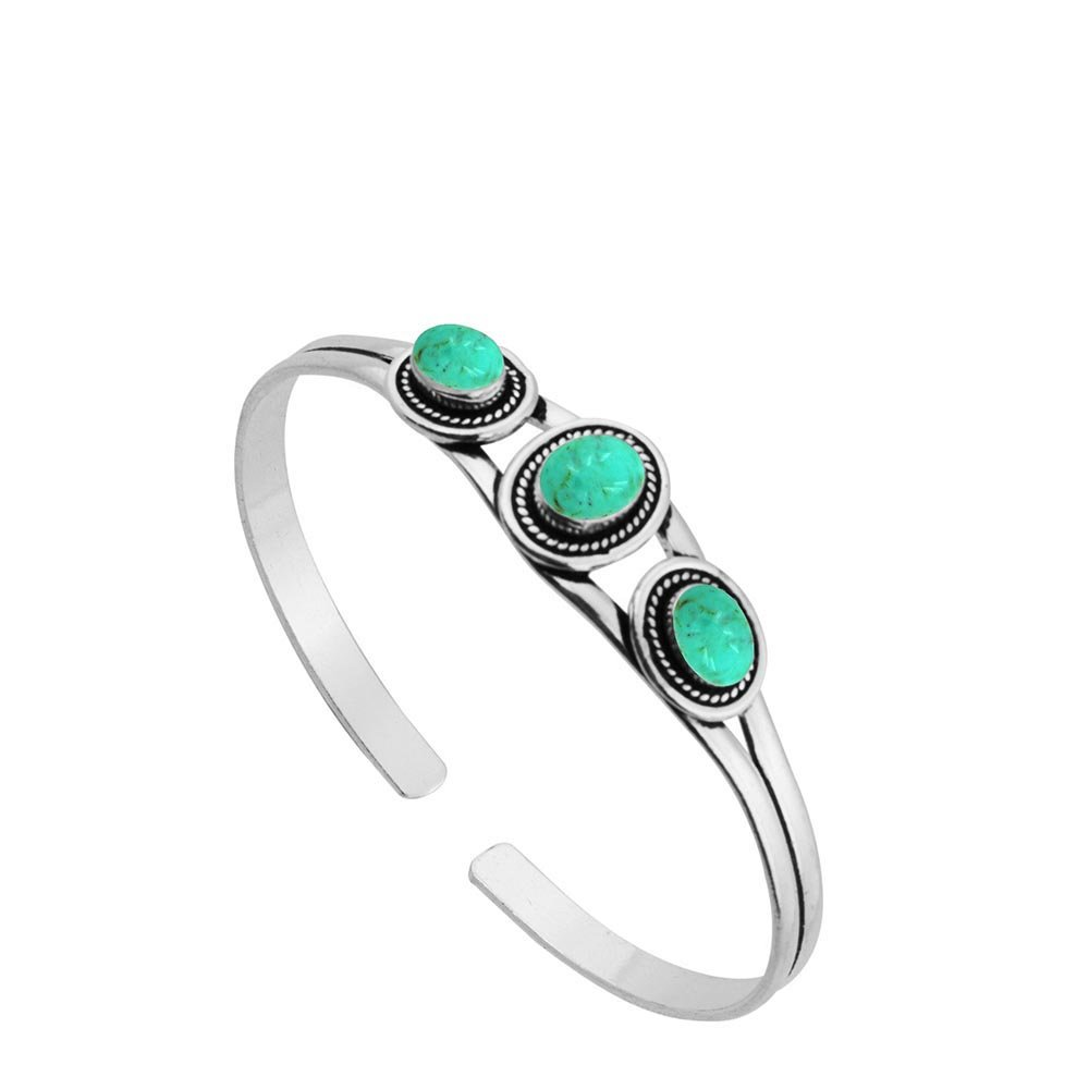 Sterling Silver Jewelry 5.45ct, Genuine Turquoise & 925 Silver Plated Bangle Made