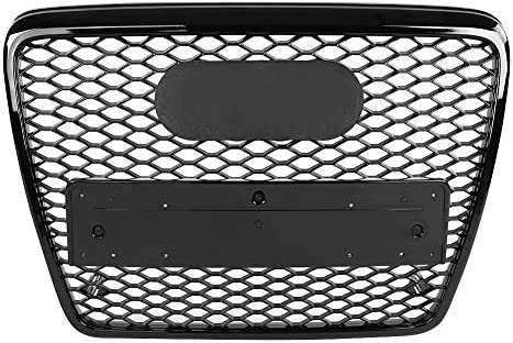Black Grill Front Bumper for A6 // S6 // C6 05-11 Honeycomb Grill ABS Front Sport Hex Mesh Honeycomb Hood Grill