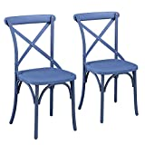 Vintage-Style Curved Leg and Cross Back Eco-Friendly Nylon Dining Chairs (Norway Blue) Review