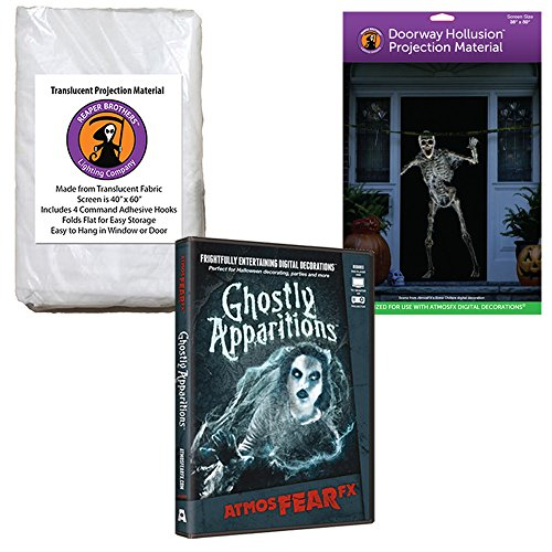 (AtmosFEARfx Ghostly Apparitions Halloween Digital Decoration DVD with Hollusion Doorway + Reaper Bros Window Projection)