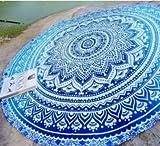 Vipsoul Beauty Large Premium Round Indian Mandala Tapestry Beach Towel Blanket Outdoor Roundie Ultra Soft Multi-Purpose Blanket Shawl Yoga Mat (70'' pack of 2, Blue)