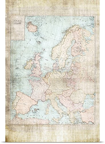 Amazon.com: greatBIGcanvas Poster Print entitled Central Europe Map ...