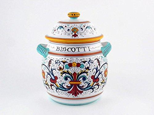- Hand Painted Italian Ceramic 10-inch Round Biscotti Cookie Jar Ricco Deruta - Handmade in Deruta