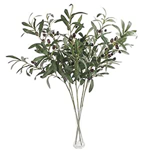 """JAROWN 5 pcs 28"""" Green Olive Artificial Plants Branches Fruits Fake Flowers Branch Leaves for Home Office Crafts Decoration"""