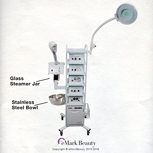eMark Beauty 14 in 1 T5 Multifunction Facial Machine Ozone Aromatherapy Steamer Microdermabrasion with Flexible Magnifying Lamp by eMark Beauty