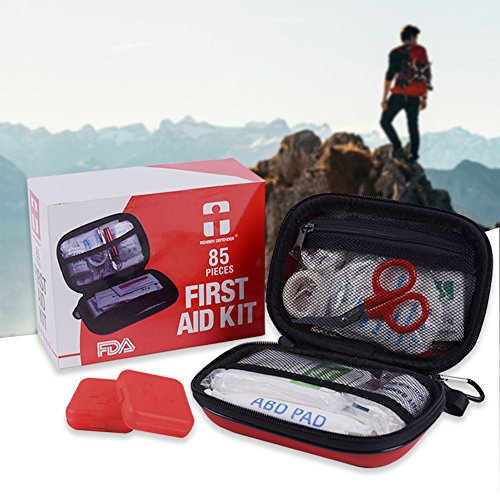 RENBEN DEFENDER First Aid Kit FDA Certifications for Home, Camping, Car - 85 Pieces (plus 2 pill cases)