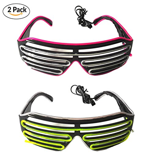 Costume Glasses (2 PCS) by Toysnmore EL Wire Neon Led Glasses Light Up Costumes For Party (White/Green + Pink/Blue) (White 1 Frame Clips 4 Wire)